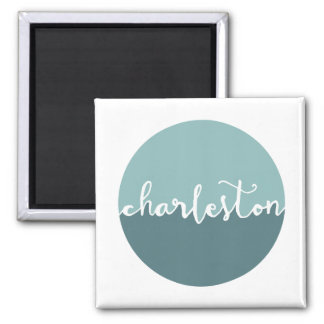 Charleston, SC   Blue Ombre Circle Magnet