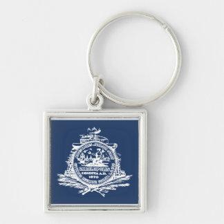 Charleston, SC Flag Silver-Colored Square Keychain