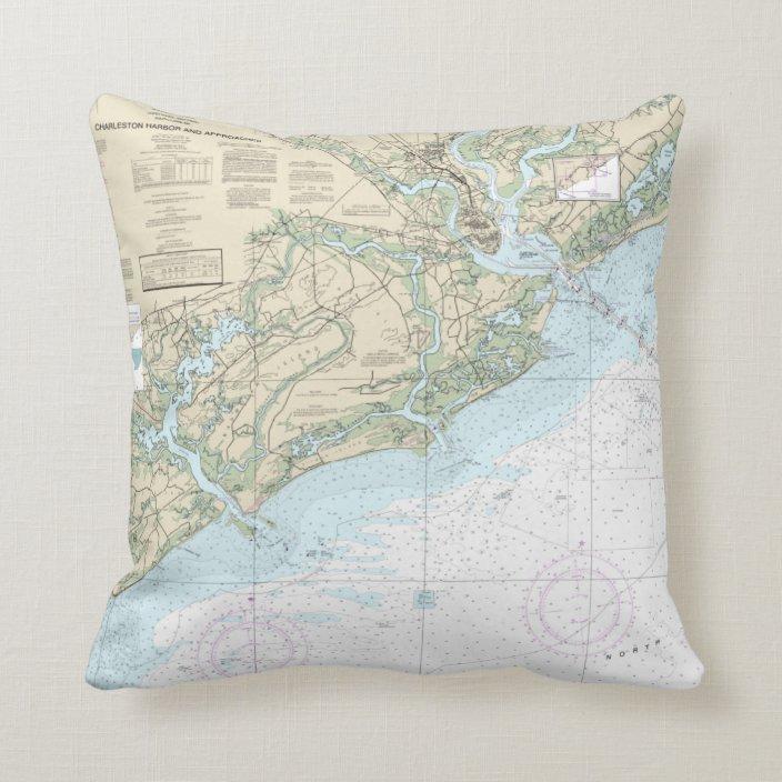 Charleston Sc Harbor Nautical Chart Pillow Zazzle Com