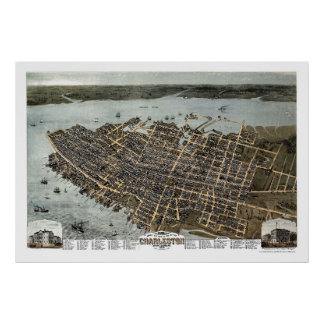 Charleston, SC Panoramic Map - 1872 Poster