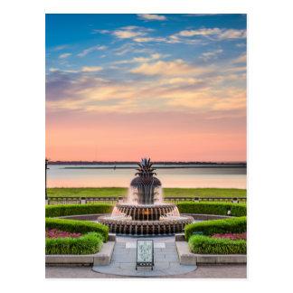 Charleston SC Pineapple Fountain Sunrise Postcard