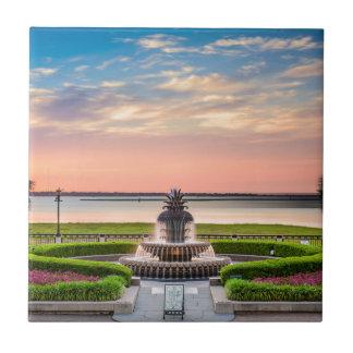 Charleston SC Pineapple Fountain Sunrise Tile