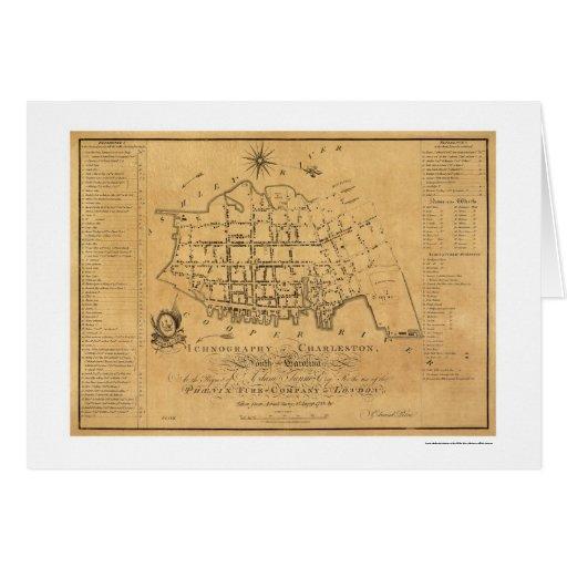 Charleston SC Street Map 1788 Greeting Card