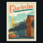 "Charleston, SC - The Palmetto City Postcard<br><div class=""desc"">Anderson Design Group is an award-winning illustration and design firm in Nashville,  Tennessee. Founder Joel Anderson directs a team of talented artists to create original poster art that looks like classic vintage advertising prints from the 1920s to the 1960s.</div>"