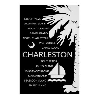 Charleston SC Towns - Black Poster