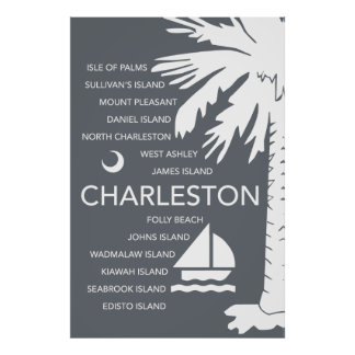 Charleston SC Towns - Charcoal Poster
