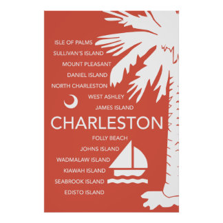 Charleston SC Towns - Red Poster
