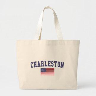 Charleston SC US Flag Large Tote Bag