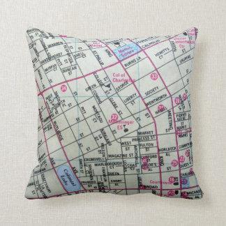 CHARLESTON, SC Vintage Map Throw Pillow