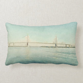 Charleston South Carolina Bridge Watercolor Print Lumbar Pillow