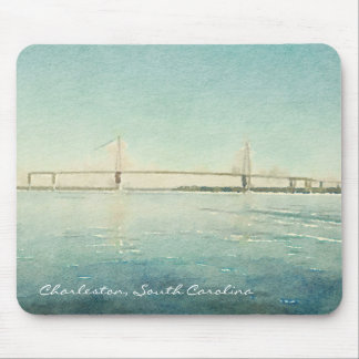 Charleston South Carolina Bridge Watercolor Print Mouse Pad