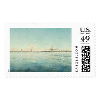Charleston South Carolina Bridge Watercolor Print Postage