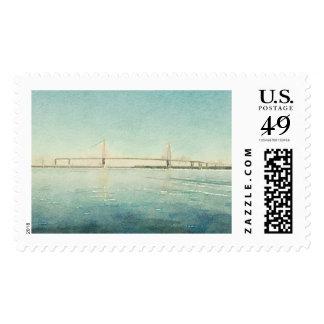 Charleston South Carolina Bridge Watercolor Print Postage