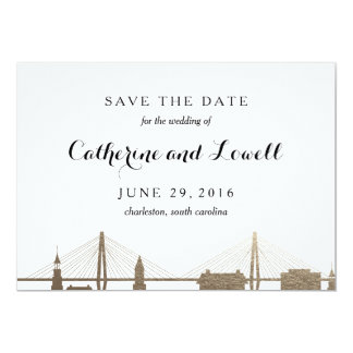 Charleston South Carolina Faux Gold Save the Date Card