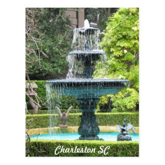 Charleston South Carolina Garden Fountain Postcard
