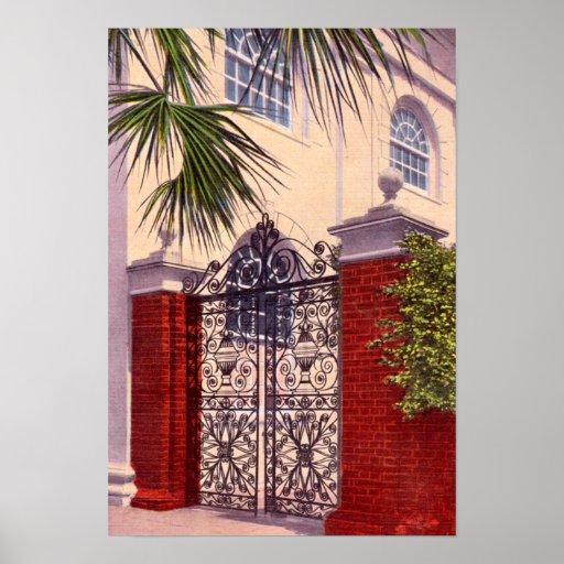 Charleston South Carolina Gate St. Michaels Church Poster