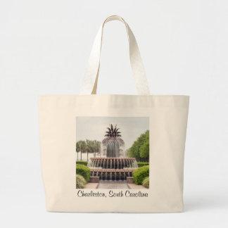 Charleston, South Carolina Pineapple Fountain Large Tote Bag