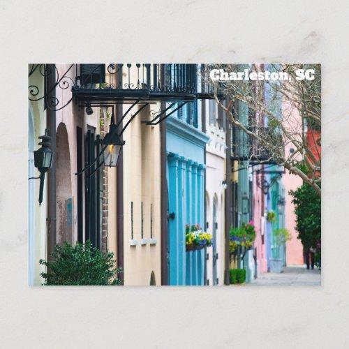 Charleston South Carolina Rainbow Row Houses Postcard