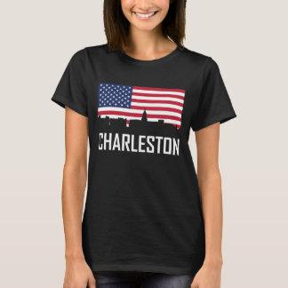 Charleston South Carolina Skyline American Flag T-Shirt