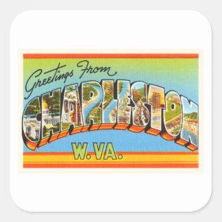 Charleston West Virginia WV Old Vintage Postcard- Square Sticker