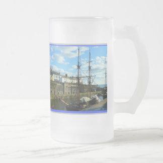 Charlestown Cornwall England Poldark Location Frosted Glass Beer Mug
