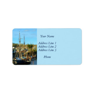 Charlestown Harbour Cornwall England Poldark Address Label