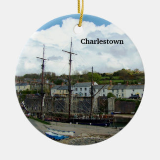 Charlestown Harbour Cornwall UK Poldark Location Double-Sided Ceramic Round Christmas Ornament