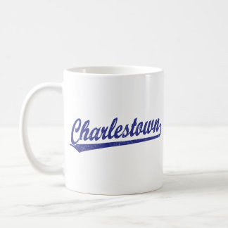 Charlestown script logo in blue coffee mug