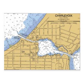 Charlevoix, MI Round Lake Nautical Chart Postcard