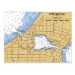 Charlevoix, postal náutica de la carta del lago re