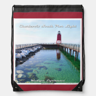 Charlevoix South Pier Light Drawstring Backpack