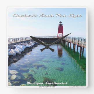 Charlevoix South Pier Light Square Wall Clock