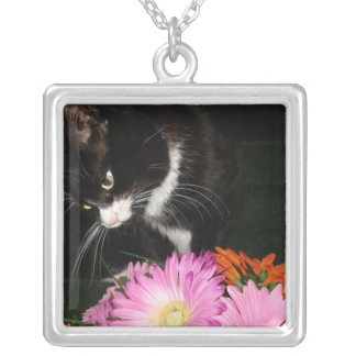 Charli Cat and Flowers Silver Plated Necklace