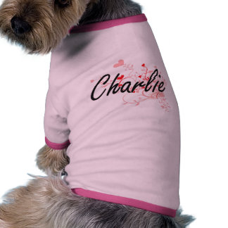 Charlie Artistic Name Design with Hearts Dog T-shirt