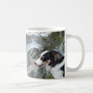 """""""Charlie at Great Falls""""~Border Collie Mug"""