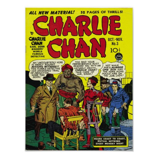 Cool Book Cover Posters : Charlie chan cool vintage comic book cover art poster zazzle
