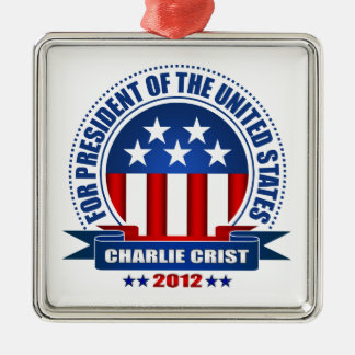Charlie Crist Adorno Navideño Cuadrado De Metal