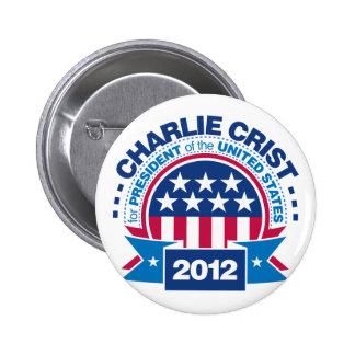 Charlie Crist para el presidente 2012 Pin Redondo 5 Cm