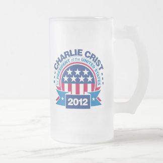 Charlie Crist para el presidente 2012 Taza Cristal Mate