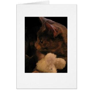 Charlie el gatito con Snuggles el ratón Tarjeta De Felicitación