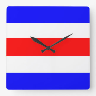 Charlie Red White Blue Square Wall Clock