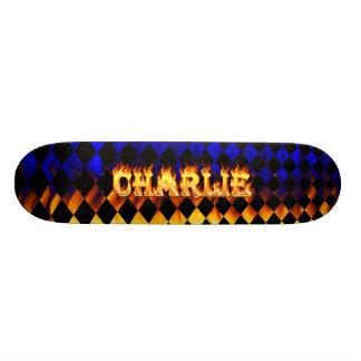 Charlie skateboard fire and flames design