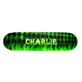 Charlie skateboard green fire and flames design.