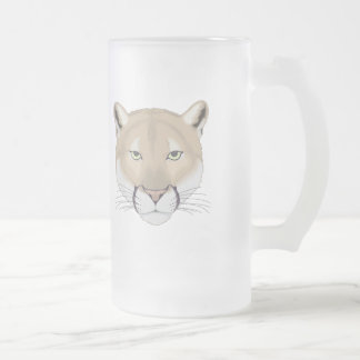 Charlie the Cougar Frosted Glass Beer Mug