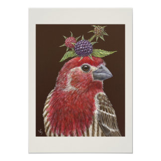 Charlie the house finch flat card