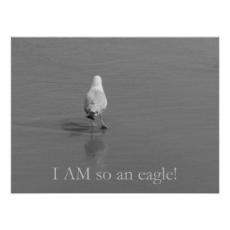 Charlie the lonely seagull - I am so an eagle! Print