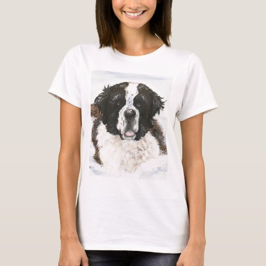 """Charlie's Snow Day"" Saint Bernard dog T-Shirt"