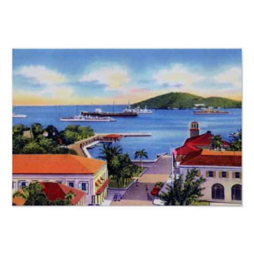 Charlotte Amalie St. Thomas Virgin Islands Downtow Poster
