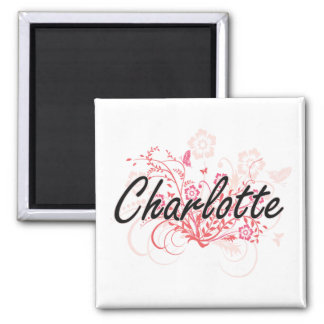Charlotte Artistic Name Design with Flowers 2 Inch Square Magnet