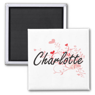 Charlotte Artistic Name Design with Hearts 2 Inch Square Magnet